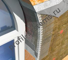 Профиль арочный угловой ПВХ сармирующей сеткой
